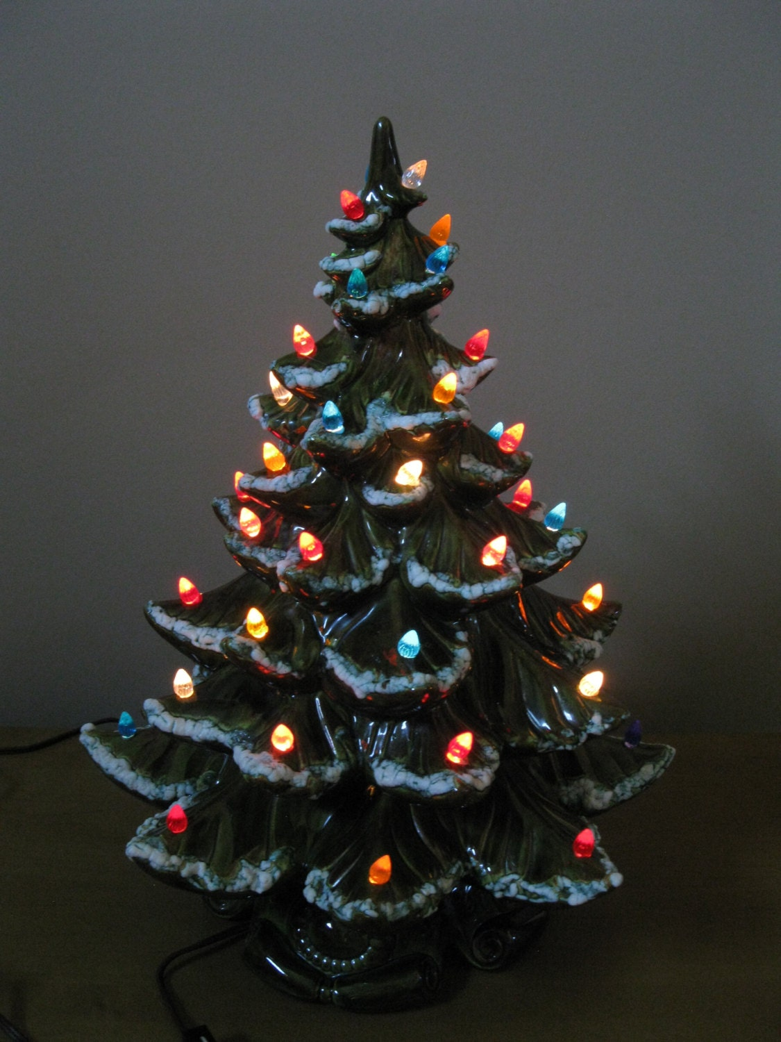 Vintage Large 19 Ceramic Lighted Christmas Tree 1970