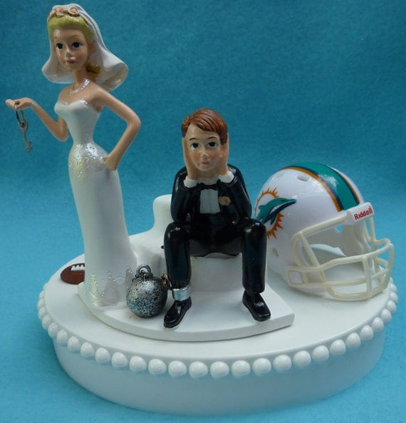 Wedding Cake Topper Miami Dolphins Football Themed Ball And