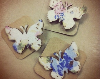 Laser cut fabric butterfly brooches, shabby chic brooch