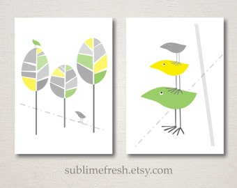 Mid Century Modern Inspired Bird Prints Set 5x7 - Choose your colors