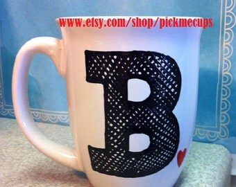 Monogram Coffee mug- heart- best friend-Bridesmaid- wedding gift- maid of honor gift - personal letter - first initial - first name on mug