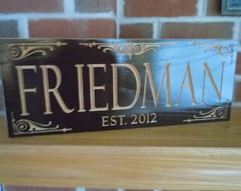 Last Name Established Date Personalized Custom Carved Wooden Family Sign Wedding Gift Anniversary Housewarming Engraved Plaque Red Oak 17