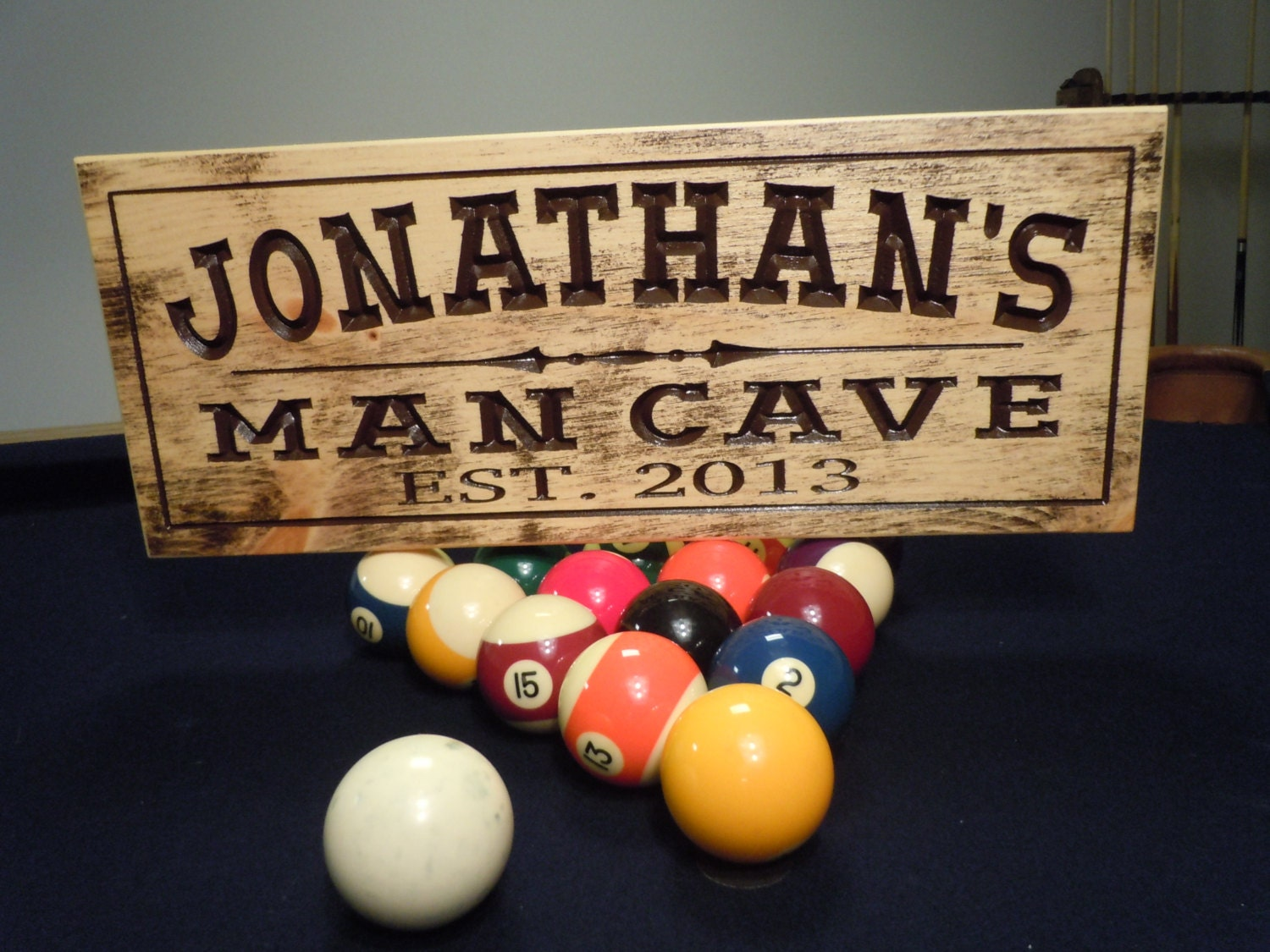 Engraved Man Cave Signs : Rustic distressed man cave sign personalized wooden carved