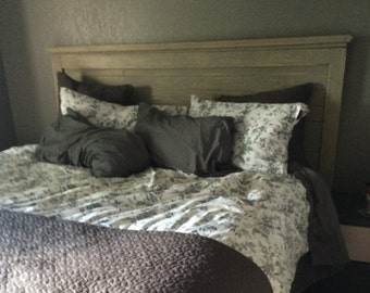 King Size Headboard - Distressed Gray - Vintage style, Handmade, Wood Headboard, Handcrafted, Custom Built Furniture
