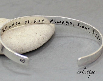 Personalized Sterling Silver bangle Bracelet.. Sterling silver Cuff.. Hammered Bangle.. Custom Bracelet.. Personalized Silver Bangle