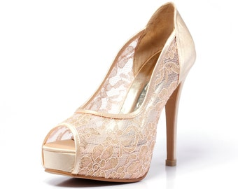 Trailblazer, Champagne Gold Lace Wedding Shoe, Peep Lace Satin Wedding Heels, Golden Champagne Bridal Shoes,Gold Wedding Shoes