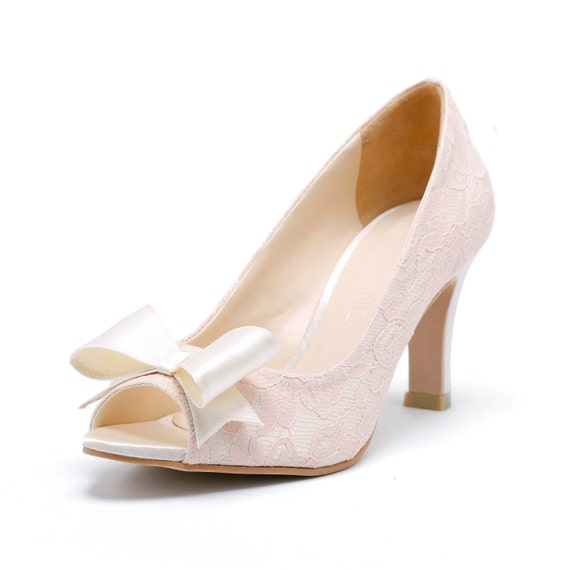 Ivory Peep Toe Court Shoes with Pink Lace, Ivory Bridal Heels, Ivory Wedding Heels,  Three and a Half Inch Lace Dinner Heels