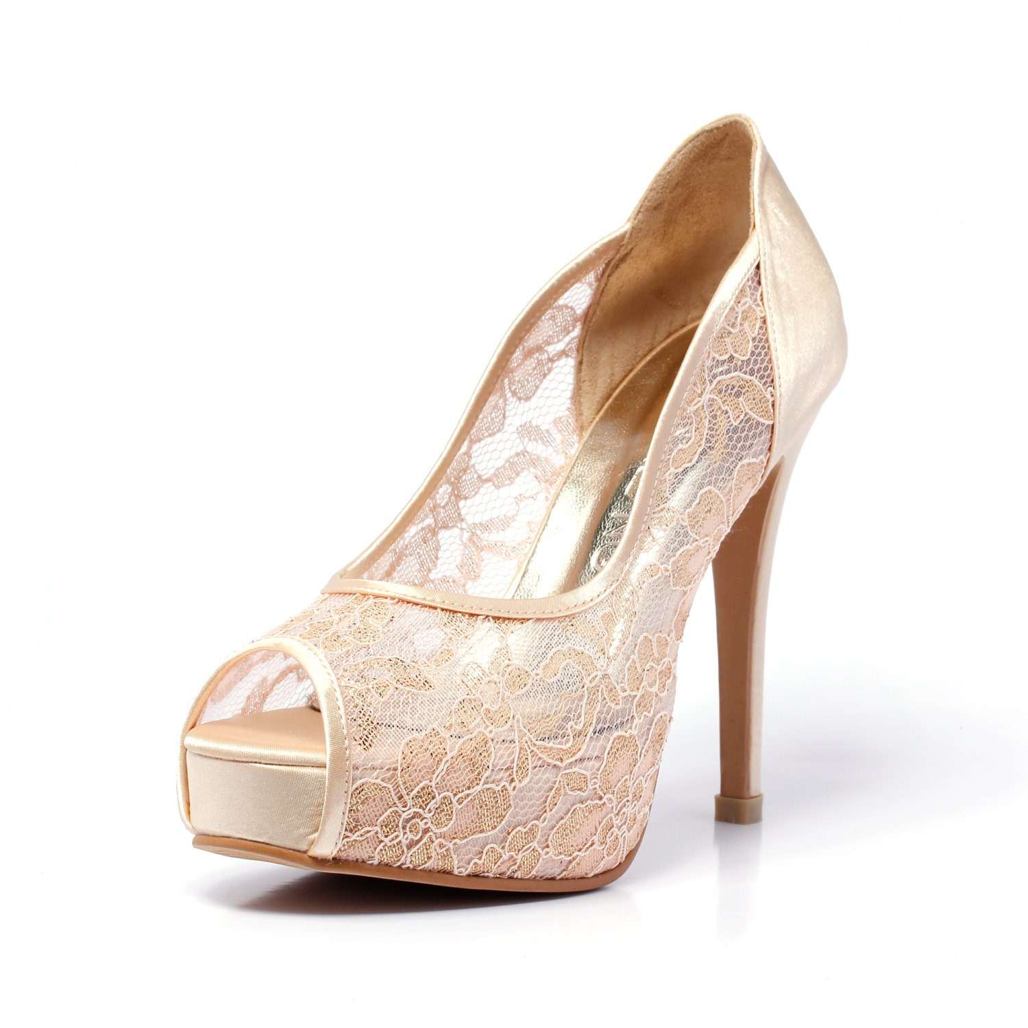 Trailblazer Champagne Gold Lace Wedding Shoe Peep Lace Satin