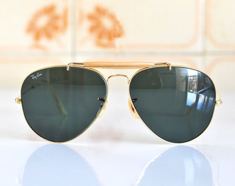 gold rimmed ray bans mw66  Original B&L RAY BAN Gold Plated sunglasses/1960s/extremely rare