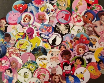 "25 - 150 Assorted Lot Pre-Cut 1"" Bottle Cap Images *HUGE CHILDRENS VARIETY*"