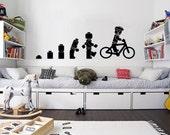 Evolution Of The Cycling Legoman Wall Art Sticker Childrens Vinyl Mural WA591