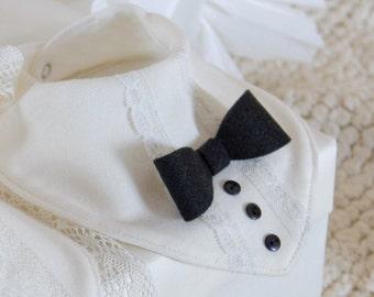 Christening Baby boy baptism bib Bib scarf 1st Birthday baby boy Bandana bib Drool bib Bow tie bib Baby shower gift