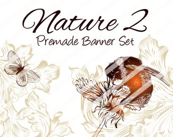 "Banner Set - Shop banner set - Premade Banner Set - Graphic Banners - Facebook Cover - Avatars - Bisiness Card - ""Nature 2"""
