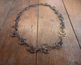 Scribble Necklace with 18kt Link