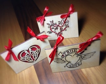 Unique birchwood laser cut valentines day cards in tattoo style designs
