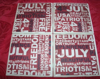 Tile Coasters, Independence, 4th of July, American, Patriotic, with Stars and Stripes in Red, White and Blue-4 pc set.