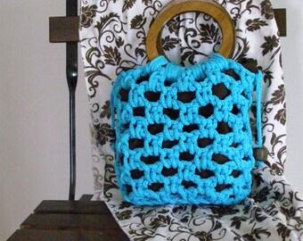 handbag turquoise cotton crochet