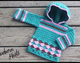 CROCHET PATTERN For Baby Boy or Girls Pullover Hooded Sweater. Pattern number 048. Instant Download