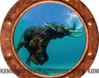 Elephant Underwater Porthole Wall Decal