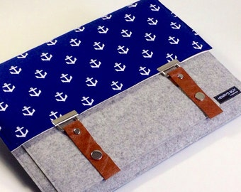 "ON SALE --   Nautical Anchor - 13"" MacBook case 100% Merino Wool Felt 3mm thick"