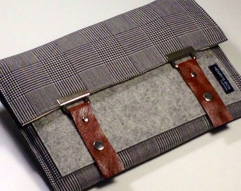 Let's Go to Work - iPad sleeve case - 100% merino wool felt with brown leather straps