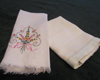 vintage handtowels, circa 1920, one embroidered linen, one aqua and white damask
