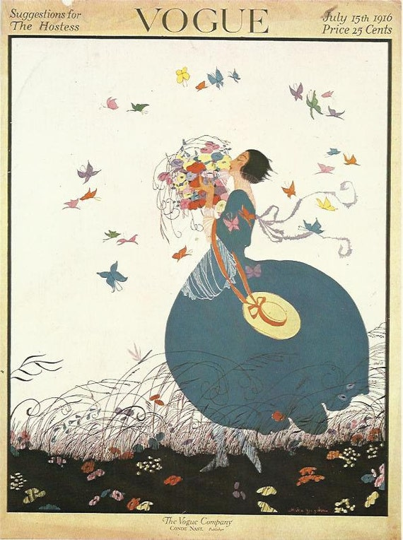 vogue magazine cover 1916 art deco fashion butterflies flowers fashion illustration vogue poster art deco home - Vogue Decor Magazine