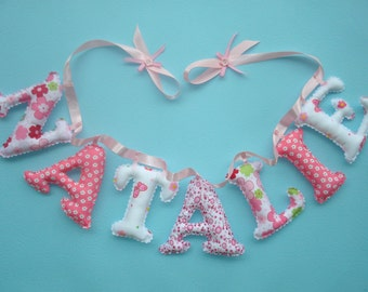 Girls Customized name banner, Fuchsia - White  Floral  fabric letters, girls room decor, hanging letters, made to order