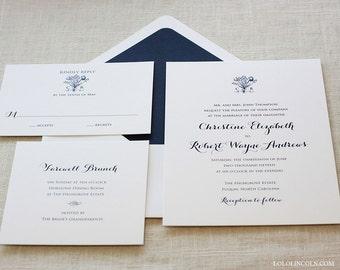 Vintage Monogram Wedding Invitation