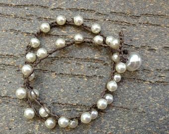 Cream Pearl Anklet - Bohemian Style Crochet