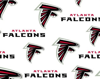 NFL Logo Atlanta Falcons 6209W White Cotton Fabric by Fabric Traditions! [Choose Your Cut Size]