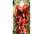 Orange Abstract Print Dress S vintage 70s Brown White Pumpkin Spice Rust Red 2 4 6 Polyester