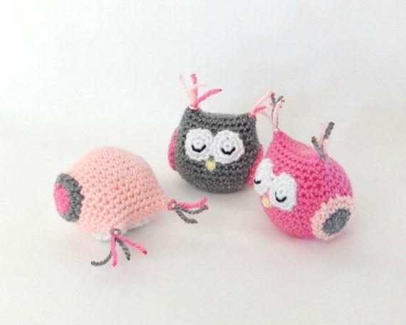 Baby girl amigurumi owl. Handmade crochet animal toy. Unique