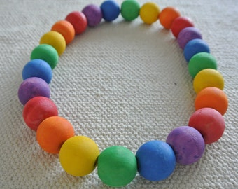 Montessori Waldorf inspired Natural Rainbow Wood Necklace