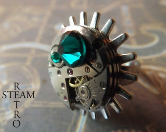 10% off sale16  Steampunk Rings - Emerald Steampunk Watch ring - Steampunk Jewelry by Steamretro - Christmas present