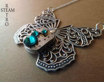 10% off sale16   Clockwork Mariposa Butterfly Steampunk Necklace - Steampunk Jewelry by Steamretro  personalized jewelry - Christmas gift