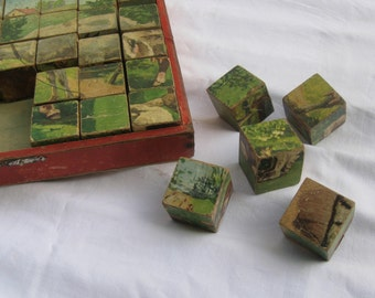 Age old puzzle cube game in wooden box. Probably 20s to 30s. Made in Germany. VINTAGE