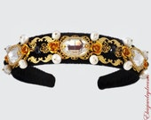 Swarovski Headband Dolce Woman Party Flower Baroque 24 k Gold Pearls Black Crystal