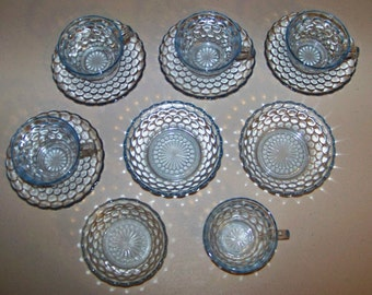 Anchor Hocking Blue Bubble Bowls & 5 Cups And 4 Saucers