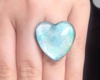 Aqua Blue Opalescent Nail polish ring