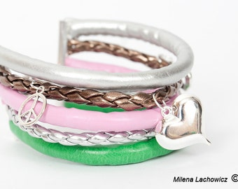 Multi colored strap btacelet, pastel bracelet