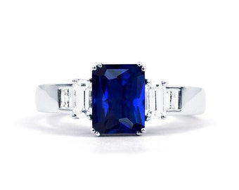 Aiko 18ct White Gold Blue Sapphire and Diamond Engagement Ring