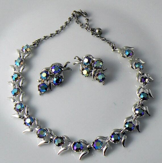 vintage bsk ab necklace and earrings set unique vintage