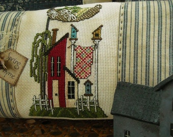 Primitive Saltbox House Cross Stitch ePattern Birdhouse Quilt Primitive Stitchery Home Decor