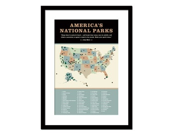 United States National Parks Poster - Art Print - America's National Parks Map - Infographic Art - USA Map Art - Travel Art - Hiking Poster