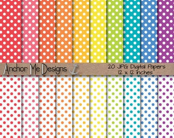 Baby Bright Polka Dot Digital Papers Bundle
