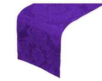 Purple Damask Table Runner