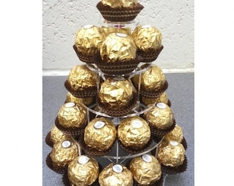 Ferrero Rocher, Chocolate, Sweets or Marshmallow Wedding & Party Stand (Round 5 Tier Clear Acrylic Stand)