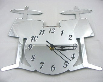 Drum Kit Clock Mirror - 2 Sizes Available
