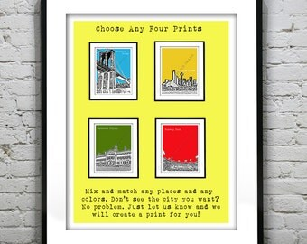 4 Pack Art Print Posters Mix and Match Your Choice any Cities, Colors, Size